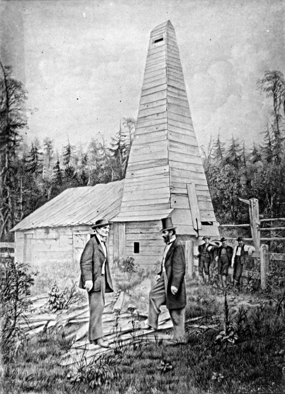 Drilled by Edwin Drake in 1859, along the banks of Oil Creek, Drake's Well is the first commercial oil well in the United States. The original structures at the well caught fire in October 1859 and were rebuilt by Drake a month later. The well produced 12 to 20 barrels a day, but, after the price of oil plummeted from the resulting boom, it was never profitable. The well stopped producing in 1861 and in 1876 to the Centennial Exposition in Philadelphia.
