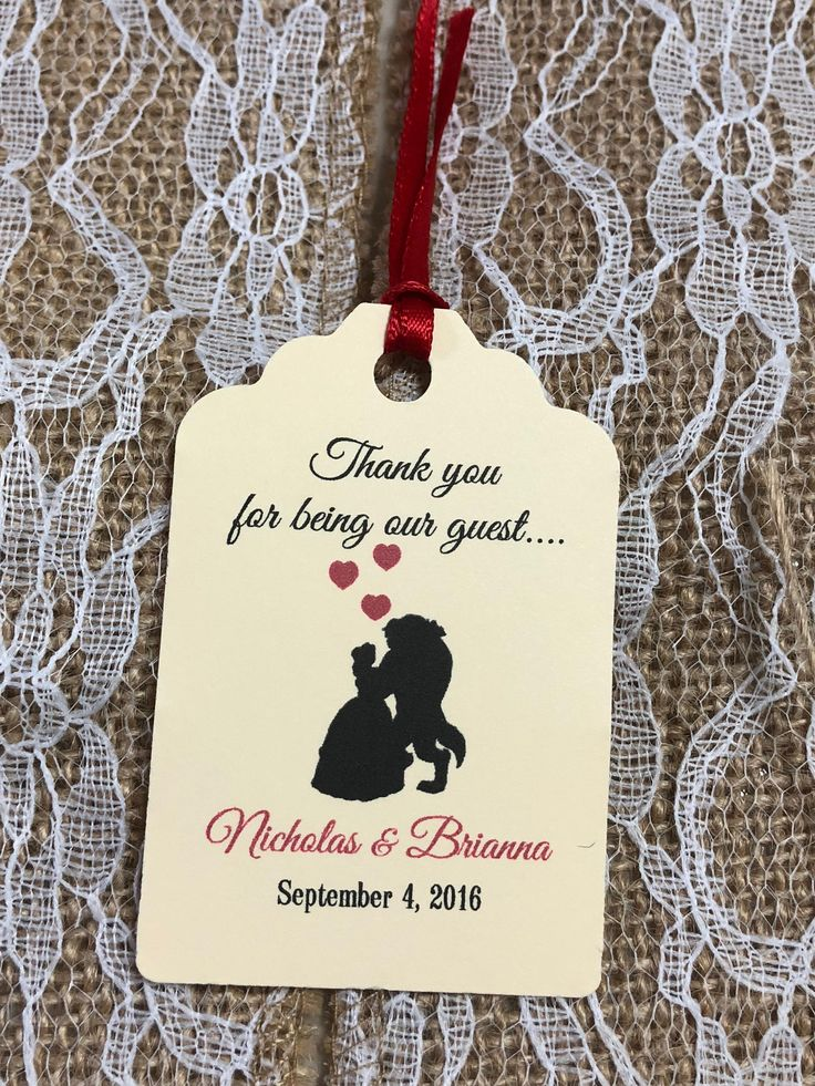 "Personalized Favor Tags 2.5L""x1.8w"", Wedding tags, Thank You tags, Favor tags, Gift tags, beauty and the beast, disney wedding"