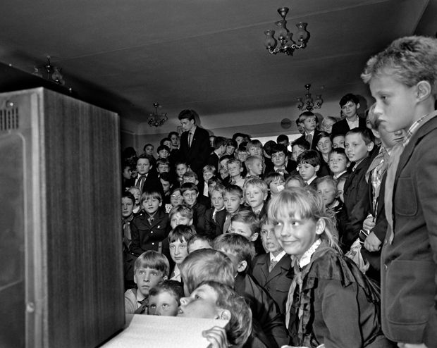 KIEV, UKRAINE (USSR) 1989 School. Children watching Michael Jackson clip for the first time