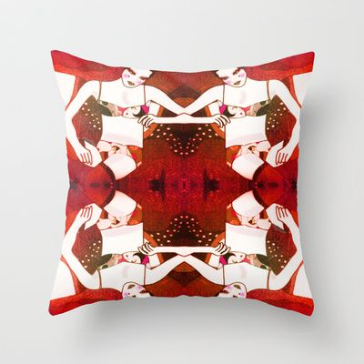 Lady in red Throw Pillow by Helena Hotzl - $20.00