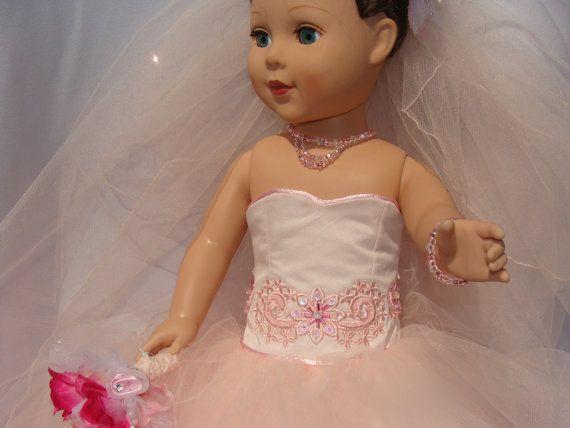 Novia de ruborización de tul para muñeca American Girl