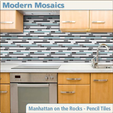 Awesome removable vinyl backsplash! Cut pieces of formica to fit your backsplash. Glue your updated backsplash materials aka tile to the formica. Set the pieces against existing backsplash. Remove it gently prior to move out.