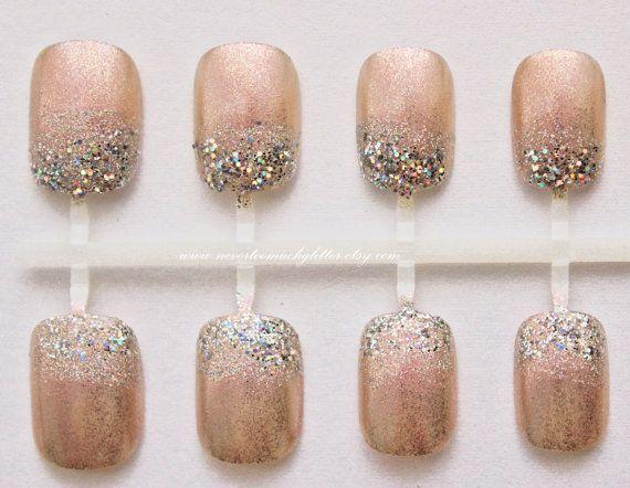 Kawaii Glitter Dip Tip Fake Nails by by Nevertoomuchglitter
