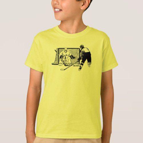 Boys Hockey Shot on Net Ink Sketch T-Shirt