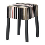 IKEA NILS Tabouret noir, Dillne gris/beige (NILS Stool black, Dillne gray/beige) - Designer: Mikael Warnhammar/IKEA of Sweden - Référence: S59889770
