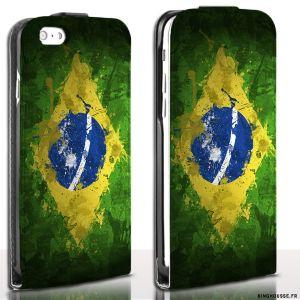 Etui Cuir iPhone 6 Drapeau Bresil Paint - Housse Apple Flip. #etui #bresil #flag #paint