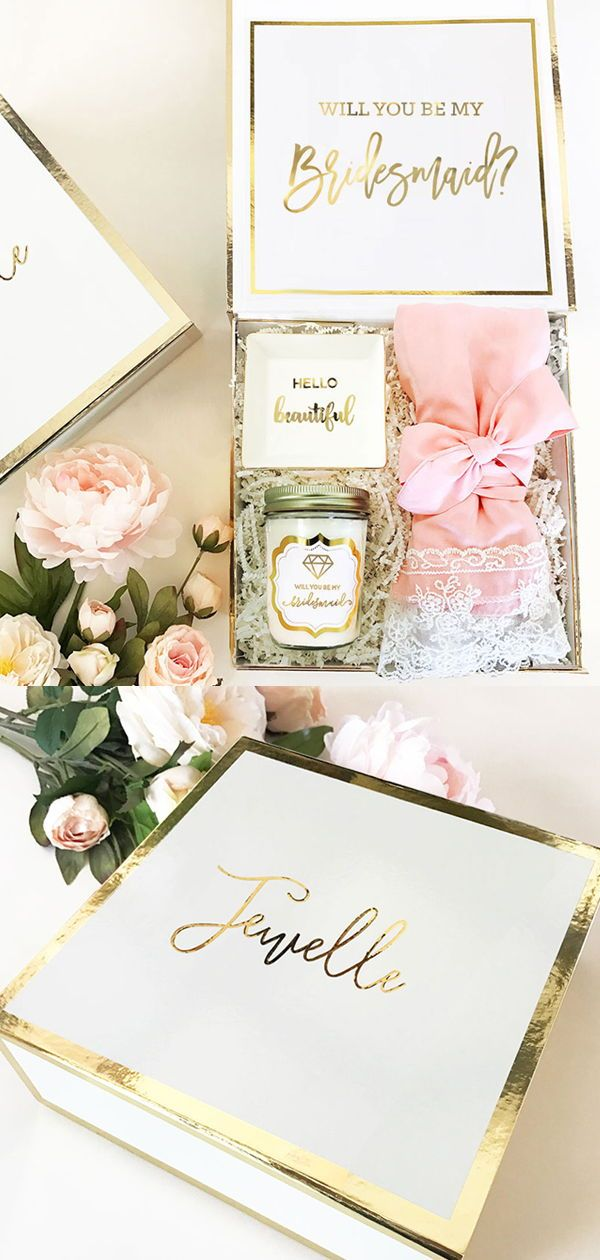 Personalized White Gold Wedding Party Gift Box Bridesmaid Gifts