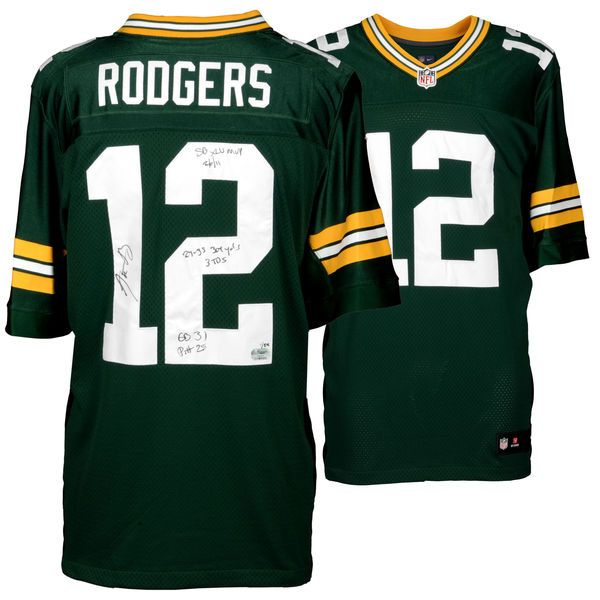 "Aaron Rodgers Green Bay Packers Fanatics Authentic Autographed Nike Green Elite Jersey with ""Super Bowl Stats"" Inscription - Limited Edition #2-11, 13-23 of 24 - $2699.99"