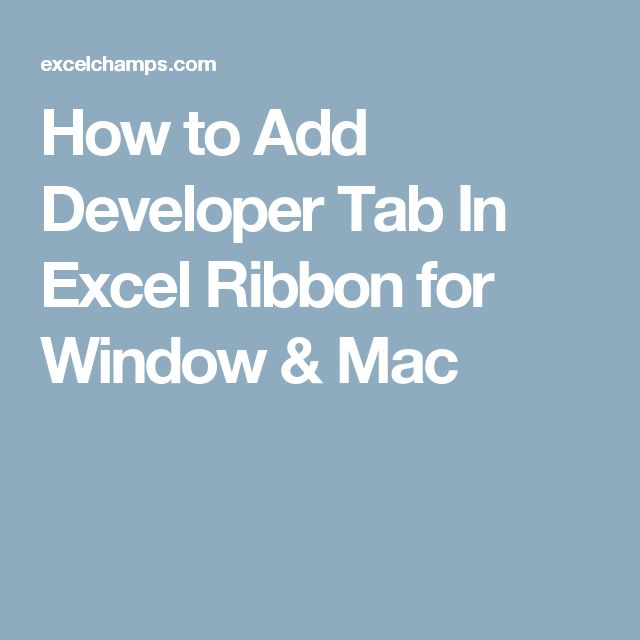 how to use developer tab in excel 2007