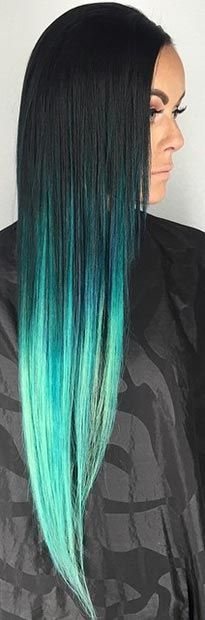 Long Dark Hair + Electric Teal Tips