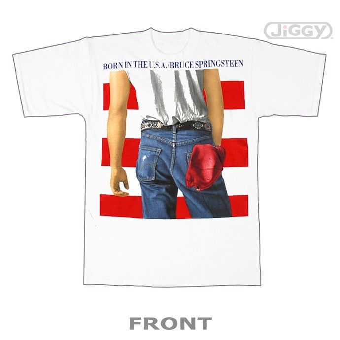 Bruce Springsteen t-shirt with the artwork from his commercial smash hit record, Born In The USA. Back has titles of all the songs on the album. Printed on a white 100% cotton t-shirt