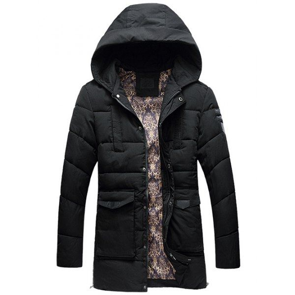 50.68$  Watch here - http://di8qq.justgood.pw/go.php?t=200826007 - Flap Pocket PU Patch Hooded Padded Coat 50.68$