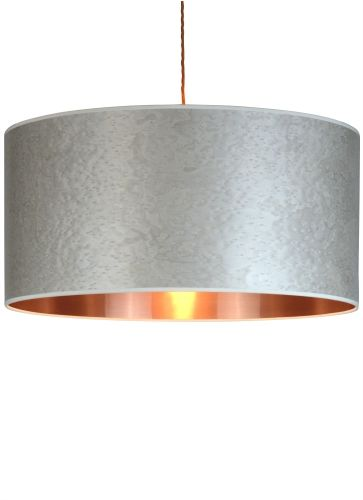 Pearl grey wood veneered drum shade with a bright copper lining