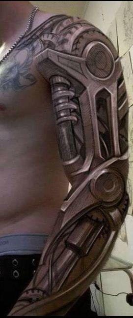 Amazing biomechanical tattoo for men