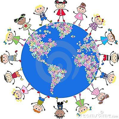 Illustration of mixed ethnic kids around our planet