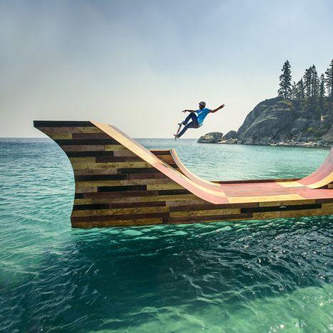 Floating skateboard ramp installed on Lake Tahoe for pro-skater Bob Burnquist