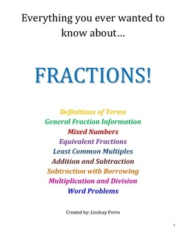 This 11 page packet (plus answer key) helps students tackle every aspect of fractions. This packet covers:Definitions of Terms, General Fraction In...