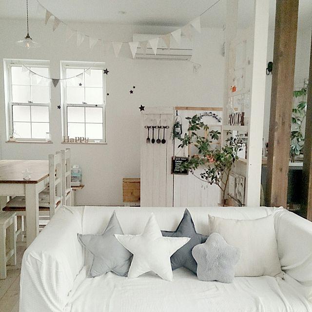 comiriさんの、Lounge,クッション,handmade,セリア,ガーランド,オリーブの木,グレー,白が好き,星のクッション,星のインテリア,星のモチーフ,星のある部屋についての部屋写真