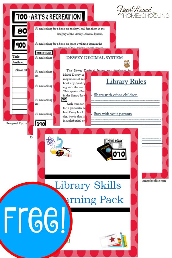 Free Library Skills Printable Pack - Year Round Homeschooling