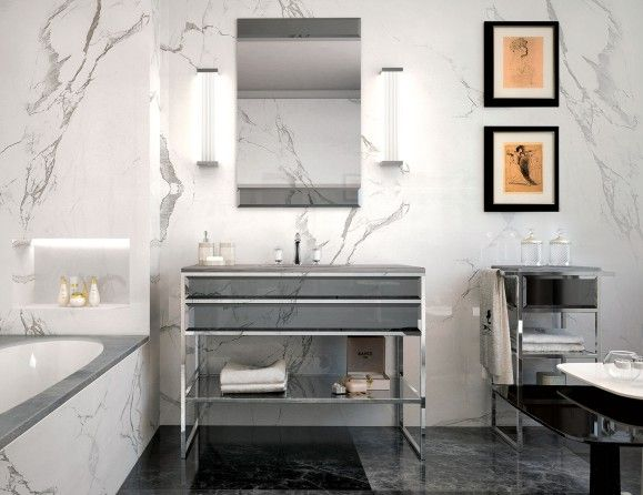 Nella Vetrina High End Italian Bathroom Vanity Gray Glass Silver Frame