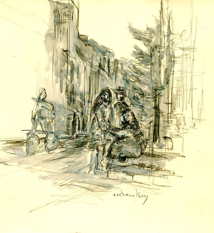 old beggar and young woman. street in S.Petersbourg.