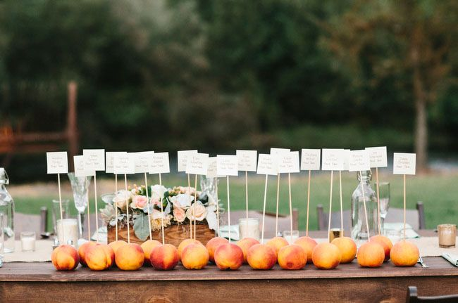the use of fruit as a placecard holder...so sweet + southern!