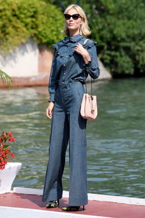 Who: Eva Herzigova What: A Denim Victorian Blouse Why: The model modernizes the blouse of the moment by wearing it in cool denim by Stella McCartney. Get the look now: Stella McCartney top, $765, net-a-porter.com.