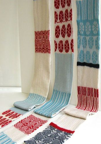 They are not giant—just normal scarf sizes. I make these on 1970s domestic knitting machines. I love machine knitting.