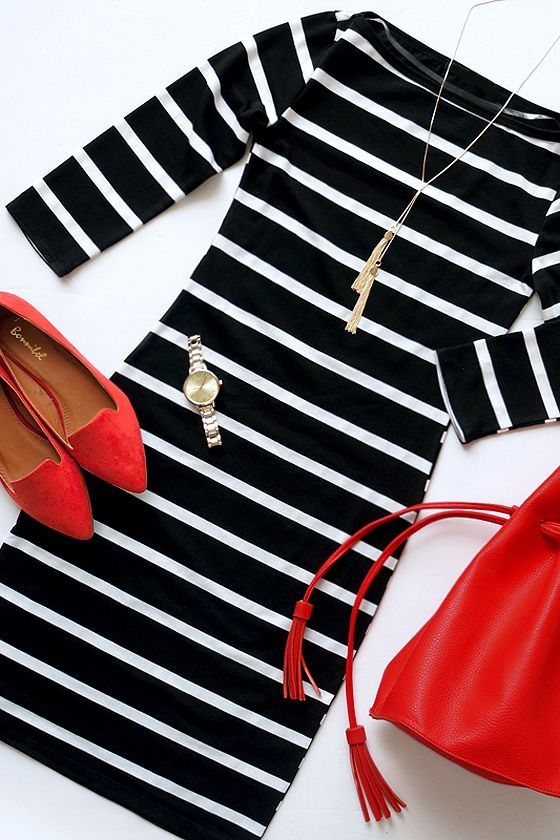 Black and white striped dress, red pumps
