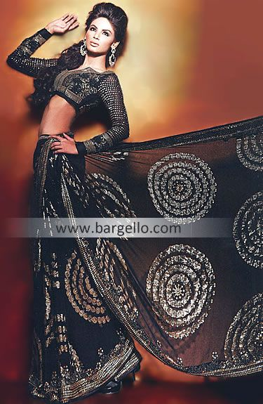 Black Alana Designer Saree UK USA Canada Australia Saudi Arabaia Japan Bahrain Kuwait Norway Sweden New Zealand  http://www.bargello.com/Black+Alana-267-Sarees-107-5702.htm