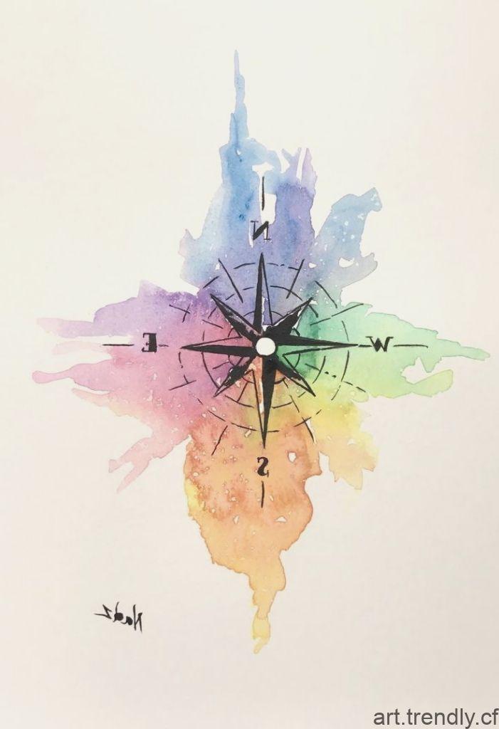 Aquarelle Peinture Etsy Boussole Idee Cadeau Peintures A L