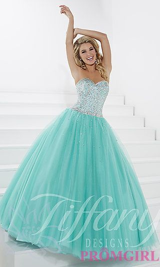 Floor Length Strapless Sweetheart Prom Dress by Tiffany at PromGirl.com