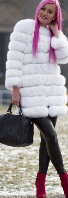 White Polar Fox Fur Coat, black tight, Gucci black handbag, Aldo high heels, shoes, pink hair. What are the benefits and drawbacks of wearing a fur coat? Read more at >>> http://justbestylish.com/the-benefits-drawbacks-of-wearing-fur-coat/