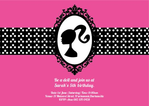 ONLINE STORE - Barbie Chic Invite  http://awishawaywhimsical.blogspot.com/p/online-store_8.html#!/~/product/category=8473018&id=32883087