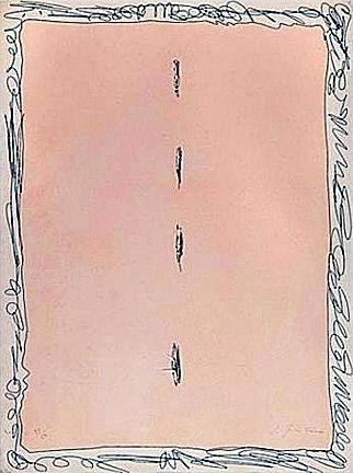 Lucio Fontana, Serie Rosa, 1966, Acquaforte acquatinta strappi, 75,5 x 56 es. 30/50