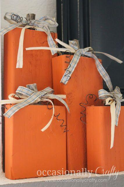 Occasionally Crafty: One last Fall Craft: 2x4 Pumpkins