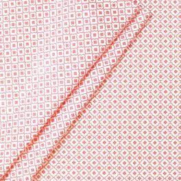 Gecoat katoen met roze mozaiek motief