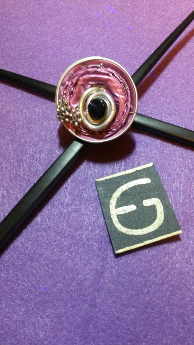 Anello creato con capsula Nespresso e bottone   Ring created with Nespresso capsule and button