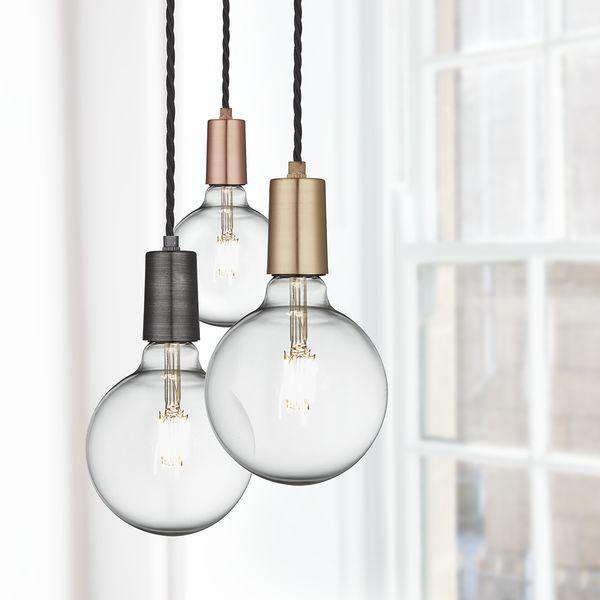 Vintage Sleek Edison 1 - Wire Pendant - Pewter | Industville