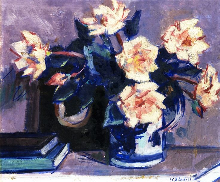 Roses by Francis Campbell Bolleau (F.C.B.) Cadell - Scottish Colourist