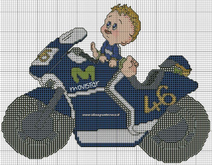 schema Bebè sulla moto punto croce