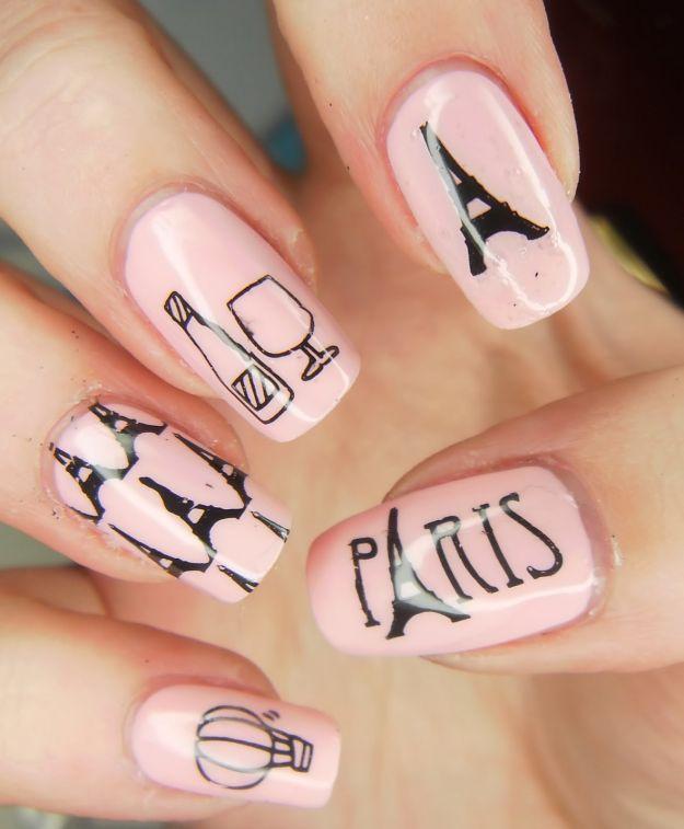 Нежно-розовый маникюр на тему Парижа ::: onelady.ru ::: #nail #nails #nailart #manicure