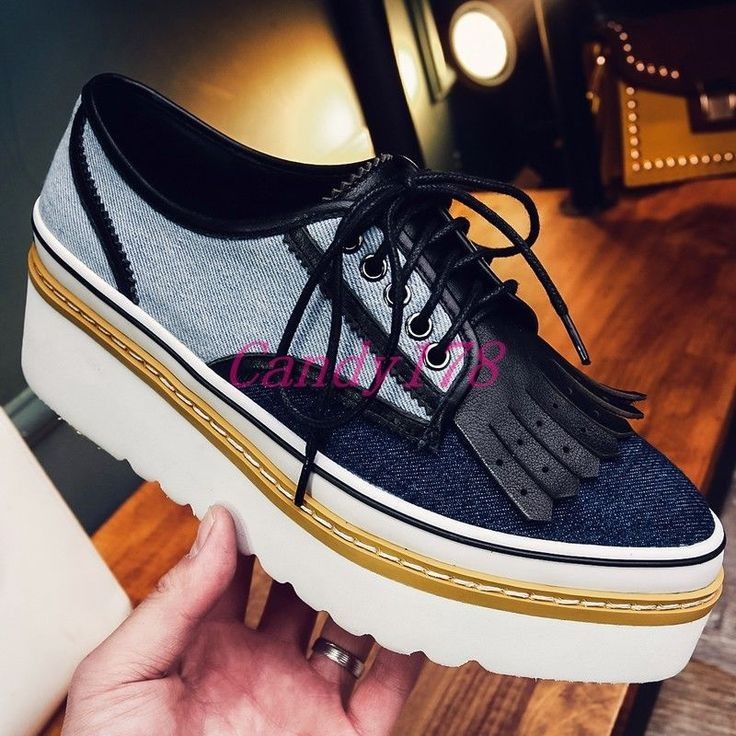 Vintage Tassels Lace Up Womens Creeper Mixed Color Denim Formal Dress Shoes