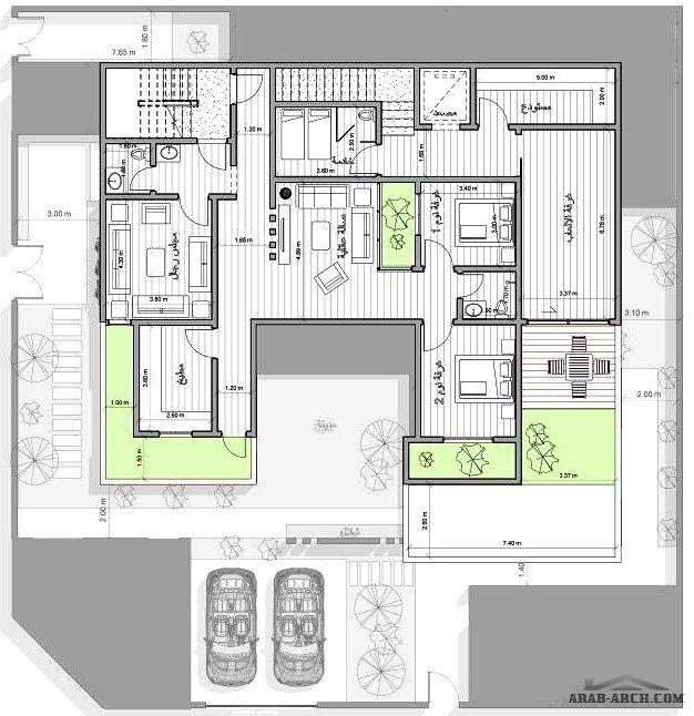مخطط فيلا دورين وشقه بالملحق العلوي مساحة الارض 25x25 تصميم شركة فأس Arab Arch House Plans House Layouts Dream Home Design