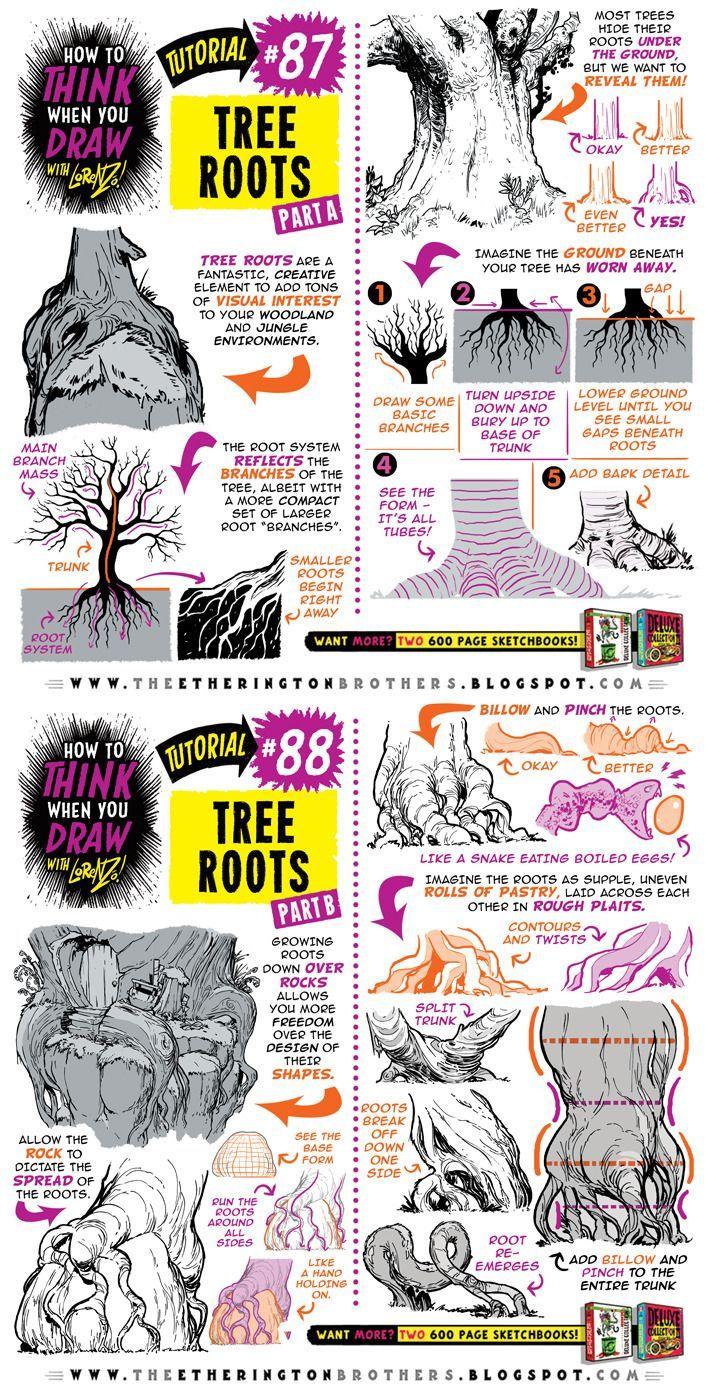 """drawingden: """"Wie zeichnet man TREE ROOTS Tutorial von STUDIOBLINKTWICE"""""""