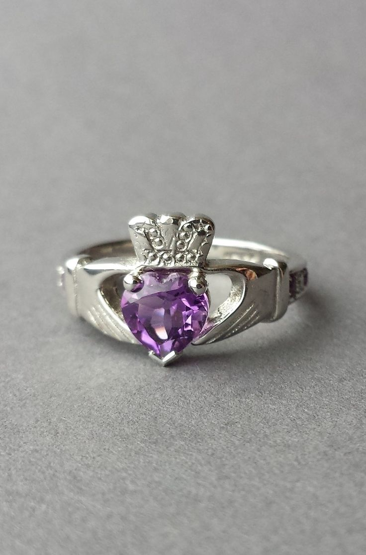 The Perfect Amethyst White Gold Claddagh ring or Sterling Silver available to order through our custom order form @ www.claddaghdesign.com