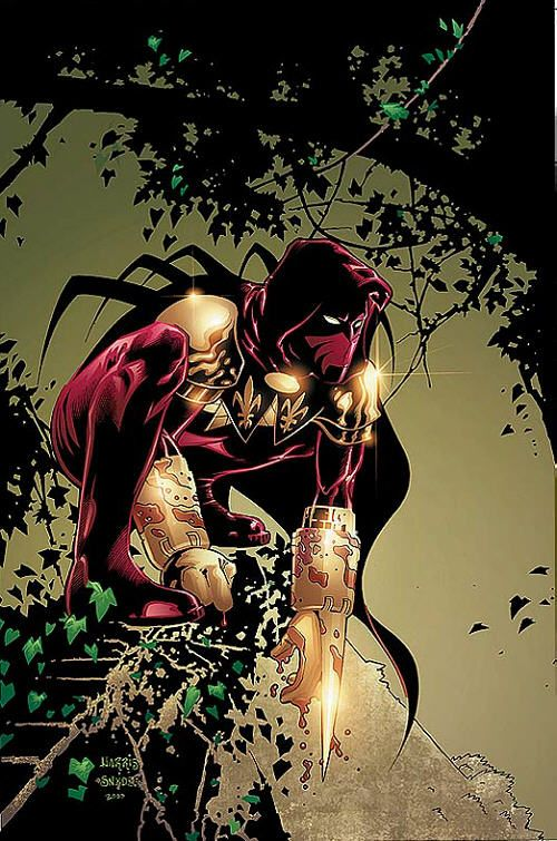 """Azrael (Jean-Paul Valley) (Human/Enhanced) (Gotham City, U.S.A.) Vigilante, student, security guard. Master strategist and tactician. Rigorous military and police training.Peak physical conditioning Skilled hand-to-hand combatant and martial artist. Artificially enhanced physiology, intelligence, combat skills, and metabolism Suit of Sorrows armor grants superhuman strength and reflexes. Sword of Sin """"burns with the souls of the damned"""" 6' 2"""" tall."""