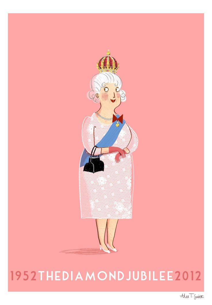 Artwork/poster for the Queen's Diamond Jubilee   Alex T Smith via @Paula Hanna