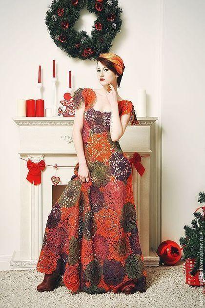 """Платья ручной работы. Ярмарка Мастеров - ручная работа Платье крючком """"Пряные рождественские звезды"""" из тонкой шерсти. Handmade."""