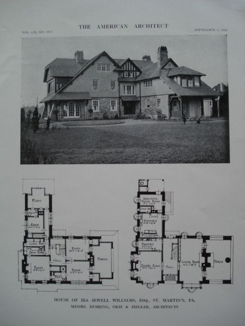 House of Ira Jewell Williams, Esq., St. Martin's, PA, 1912, Messrs. Duhring, Okie & Ziegler
